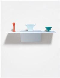 untitled (garlic press, cheese grater, cup) by haim steinbach