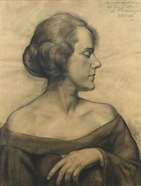 portrait de femme de profil by léonid frechkop