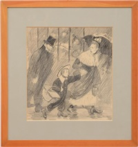 mother and son; the meeting (double-sided) by théophile alexandre steinlen