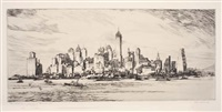 new york from governor's island (+ in the 50s, the whirlpool, c.1940; 2 works) by william c. mcnulty