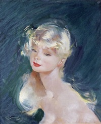 portrait de jeune fille blonde by jean-gabriel domergue