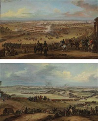 the battle of fontenoy, 11 may 1745 (+ the battle of lawfeld, 2 july 1747; pair) by pierre lenfant