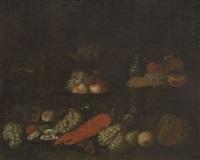 nature morte au homard et à la bouteille de delft by laurens craen