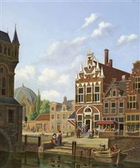 ansicht einer holländischen stadt mit giebelhäusern und einer kuppelkirche by jan hendrik verheyen