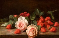 roses et fraises by marguerite dielman