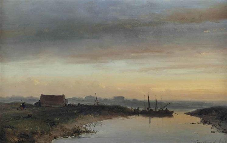 a river landscape at dusk by johan barthold jongkind