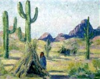 indians encamped among saguaros and mountains by tom waugh