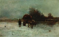 winterlandscape with carriage by george w. aikman