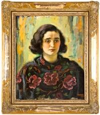 žena v květinovém plédu by frantisek naske