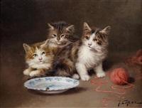 chatons et la pelote de laine by jules gustave leroy
