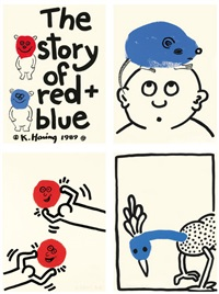 the story of red and blue (set of 20) by keith haring