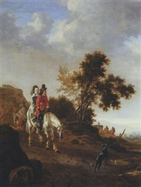 a hilly landscape with travellers riding on a path by pieter cornelius verbeeck