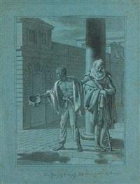 un esclave conduisant un aveugle en costume renaissance by jean jacques karpff