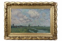 dutch windmills in summer by henry rodman kenyon