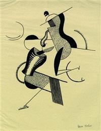 reitendes paar (from bauhaus-drucke. neue europäische graphik, 3. mappe, deutsche künstler) by oskar fischer
