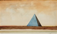 untitled (blue pyramid) by saul steinberg