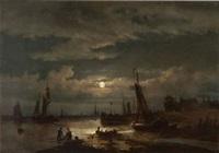 pêcheurs au travail au clair de lune, anvers à l'arrière-plan by egidius linnig