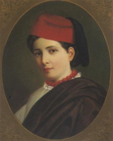 portrait eines jungen mädchens mit fes by gustav simon