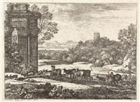 le troupeau en marche par un temps orageux (w/sketch, verso) by claude lorrain