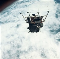 """the lm """"spider"""" in lunar landing configuration, apollo 9, march 1969 by david scott"""