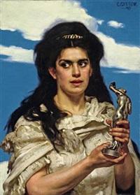 frau vor blauem himmel, eine bronze-figur haltend by karl gussow