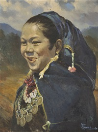 a portrait of a young woman of the yin phaw region by u lun gywe