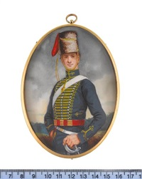 a private of the 8th hussars, wearing blue coat with gold lace, white cross-belt, red and gold corded sash and hat, his left hand on his sword by michael bartlett