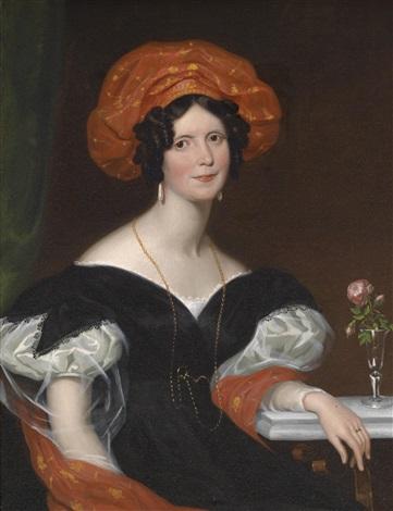 bildnis einer sitzenden dame mit rotem schal und roter kopfbedeckung by franz xaver winterhalter