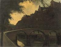 stadsgezicht - a canal in amsterdam by eduard karsen