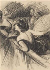 deux femmes dans une loge de théâtre, un homme à l'arrière-plan by giovanni boldini