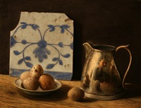 still life with portuguese tile and quail eggs by stuart morle