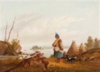 landscape with indian and papoose by r. mcfarlane