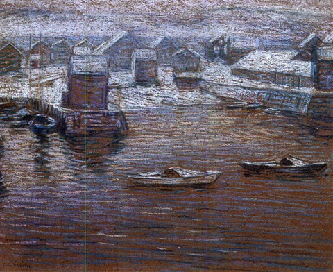 rockport harbor winter by charles salis kaelin