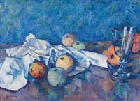 fruit still life with glass by charles gottweiss