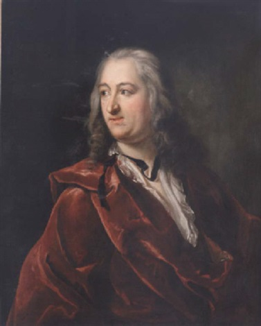 Portrait Of A Gentleman In A Red Velvet Dressing Gown And An Open