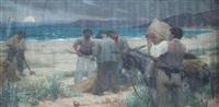 soleil couchant sur la plage by andré louis maxime humbert