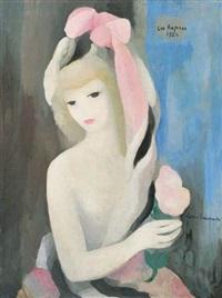 jeune fille au noeud rose une rose à la main by marie laurencin