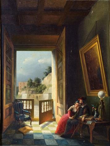 interno romantico by vincenzo abbati