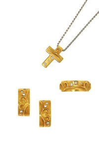 scroll earclips, ring, cross pendant (3 works) by boodle & dunthorne