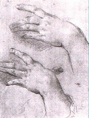 two studies of a left hand by giovanni maria viani