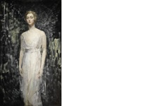 portrait of a lady, full length, in a white gown by ambrose mcevoy