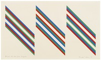 bright red, blue, green diagonals by bridget riley