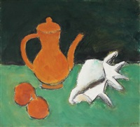 still life with apples, teapot and sea shell by ion pacea