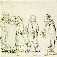 a group of five men in hats by christina chalon