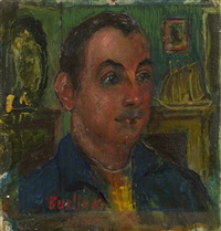 portrait of frank banker in an interior by david davidovich burliuk