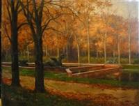bassin dans le parc de trianon by charles leon godeby