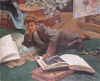 portrait of a boy studying by adolfo marin y molinas
