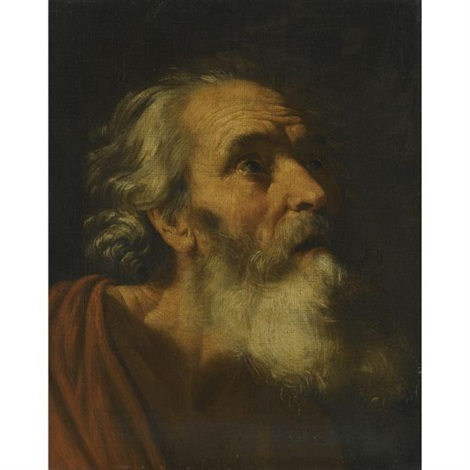 head of a male saint saint peter study by hendrick van somer