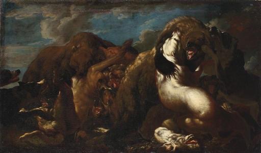 hounds attacking a bear by carl borromaus andreas ruthart