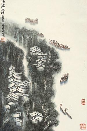 清漓江边 landscape by li xiaoke